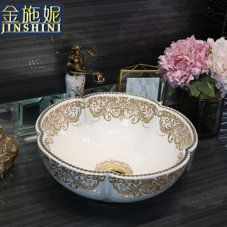 Gold cellnique stage basin circular jingdezhen ceramic lavatory toilet lavabo modern European hermes