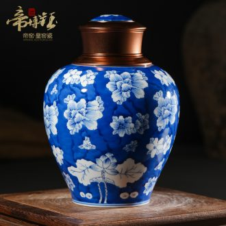 Traditional hand-painted jingdezhen blue and white porcelain storage jar airtight household ceramic boutique high-end tea pot with cover