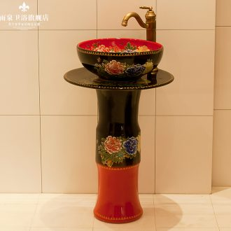 Spring rain jingdezhen ceramic column basin floor balcony sink art toilet lavatory ou of the basin that wash a face