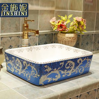 Gold cellnique color ceramic sinks modern sanitary ware jingdezhen blue stage basin bathroom basin of the basin that wash a face