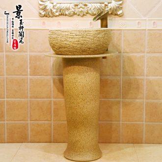 JingYuXuan ceramic art basin stage basin pillar lavabo three-piece frosted stage basin waist drum of rain flower stones