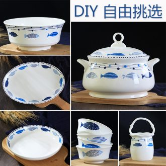 Jingdezhen dishes ceramic tableware free combination jobs rainbow noodle bowl soup bowl dish spoons piece Chinese bone porcelain suits