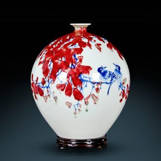 Jingdezhen ceramics vase sitting room of Chinese style home decoration master hand draw luck furnishing articles written by famous experts