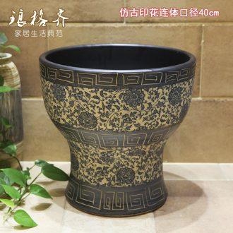 Koh larn, qi ceramic art basin mop mop pool ChiFangYuan one-piece mop pool diameter 40 cm archaize printing