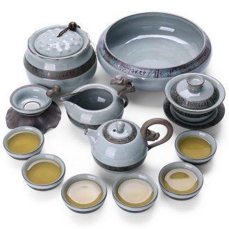 Thyme don your kiln ceramic kung fu tea set tea wash elder brother kiln of a complete set of Japanese household tureen ice crack glaze