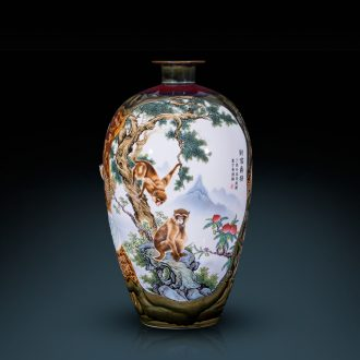 Jingdezhen ceramics powder enamel kiln landing big vase decoration new sitting room porch decoration of Chinese style household furnishing articles