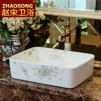 European rural hotel toilet square on the ceramic basin sink increase stage of the basin that wash a face basin art basin