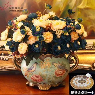 Ceramic vase creative furnishing articles sitting room adornment retro artical simulation dried flowers large flower arranging flower art
