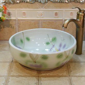 JingYuXuan jingdezhen ceramic art basin stage basin sinks the sink basin trumpet 34 cm purple magnolia
