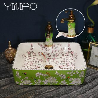 Jingdezhen stage basin rectangle ceramic lavatory household toilet hand washing dish basin of European art basin