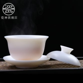 Household China white porcelain porcelain god only three tureen ceramic kung fu tea cup large suet high-white tea bowl