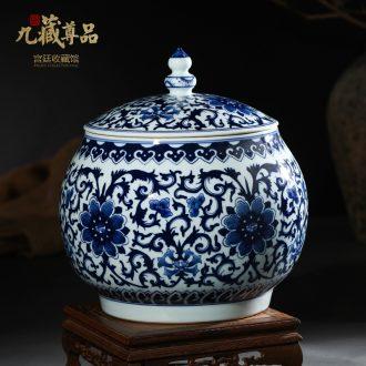 Jingdezhen ceramics antique hand-painted bound branch lines of blue and white porcelain tea pot cover furnishing articles storage tank decoration decoration