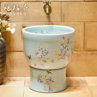 Koh larn, qi mop pool ceramic mop pool two-piece toilet basin of mop pool size 35 cm crack of flowers and birds