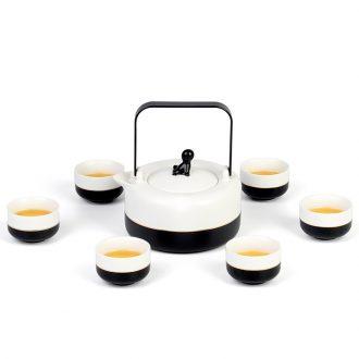 Contracted Japanese big teapot teacup set ceramic household high-capacity girder pot of green tea, scented tea tea set gift box