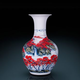 Jingdezhen ceramics famous hand-painted design the sitting room TV ark of large vases, decorative furnishing articles large red