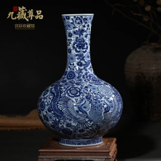 Antique hand-painted porcelain of jingdezhen ceramics phoenix TV ark wearing purple flower left buccal bottle the sitting room porch decorate furnishing articles