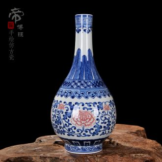 Jingdezhen ceramics vase antique blue-and-white blooming flowers water bottle decoration home furnishing articles in the living room