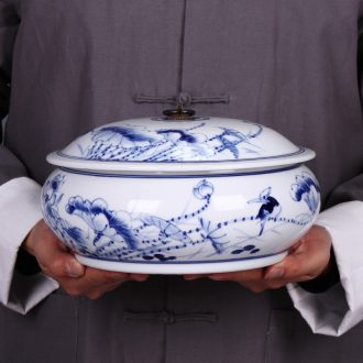Blue and white porcelain of jingdezhen ceramics hand-painted caddy peulthai the seal pot of tea cake tea pot porcelain