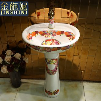 Gold cellnique garden ceramics basin ground column pillar lavabo lavatory outdoor garden column pool