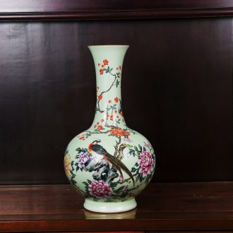 Jingdezhen ceramics powder enamel pick flowers golden pheasant grain bottle vase home decoration technology sitting room place collection