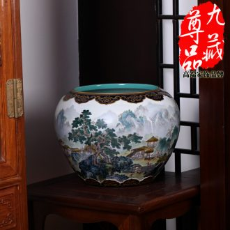 Jingdezhen ceramics imitation qing qianlong pastel heavy industry landscape pattern pot vase household adornment handicraft furnishing articles