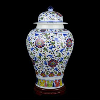 Jingdezhen ceramics hand-painted general tank large Chinese blue and white porcelain vase sitting room porch place