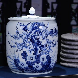 Jingdezhen ceramic hand-painted magpie tea pot large puer tea cake tea cake cylinder seal box