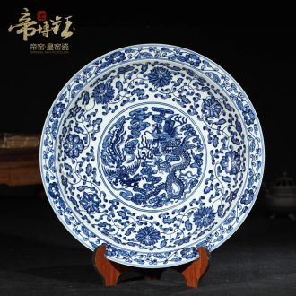 Jingdezhen ceramics imitation qing qianlong hand-painted blue and white porcelain in extremely good fortune China plate hanging dish Chinese style living room furnishing articles