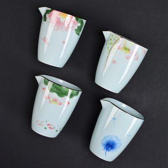 Kung fu tea accessories longquan celadon hand-painted justice fair cup points of tea ware jingdezhen ceramic fair mug cups