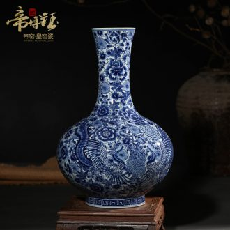 Jingdezhen ceramics antique hand-painted crafts are blue and white porcelain vases, flower arrangement sitting room of Chinese style household decorations