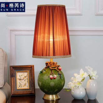 European-style villa contracted copper bedroom berth lamp sitting room all creative ceramic lamps and lanterns that move light warm light decorate warmth