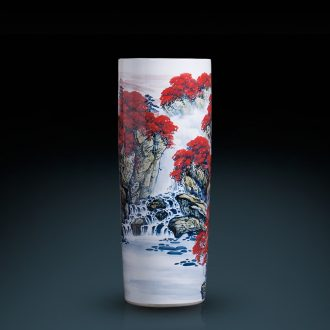 Jingdezhen ceramic vase hand-painted high quiver landing big sitting room adornment furnishing articles word calligraphy and painting scroll cylinder to receive