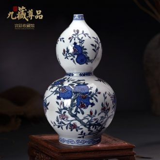 Jingdezhen blue and white youligong hand-painted ceramics vase colorful figure gourd bottle of Chinese style living room three fruit furnishing articles