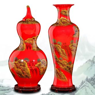 Jingdezhen ceramics China red vase is placed large bottle gourd landing large contemporary and contracted sitting room