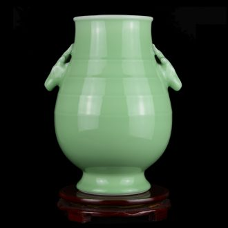 Jingdezhen ceramics vase furnishing articles sitting room celadon ears deer head statue of antique Chinese style porch home decoration