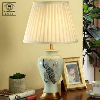 Santa marta tino blue peacock full copper ceramic American bedside lamp contracted sitting room desk lamp