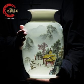 Master of jingdezhen ceramics hand-painted vases, study of new Chinese style household living room decoration decoration handicraft furnishing articles
