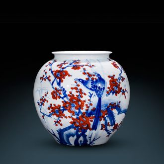 Jingdezhen ceramics pot-bellied pot vase master Chinese antique hand-painted porcelain home sitting room adornment is placed