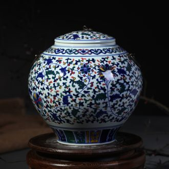 Blue and white porcelain of jingdezhen ceramic vase furnishing articles manual cover pot sitting room adornment style storage tank