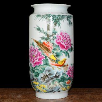 Jingdezhen ceramics vase peony pastel large Chinese style living room big flower arranging furnishing articles home decoration