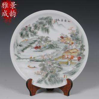 Jingdezhen ceramics hand-painted scenery porcelain furnishing articles furnishing articles decorative hanging dish crafts porcelain Zhang Bingxiang