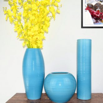 Jingdezhen ceramic Mediterranean style blues blue vase three-piece sitting room is contracted flower adornment furnishing articles