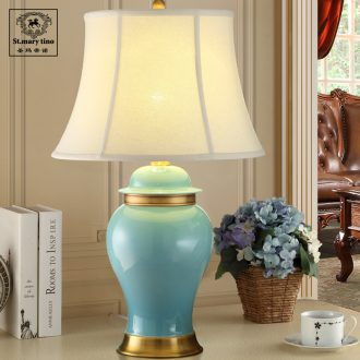 Santa marta tino european-style full copper ceramic desk lamp sitting room large light blue ice crack desk lamp of bedroom the head of a bed of pure copper