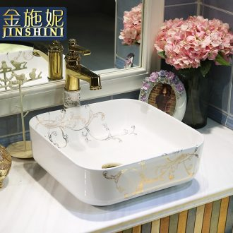 Gold cellnique jingdezhen square ceramic art basin stage basin toilet lavabo flowers of European music
