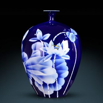 Jingdezhen ceramic blue and white porcelain vases, famous master hand draw new Chinese style living room porch flower adornment furnishing articles