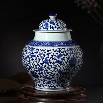Jingdezhen ceramic high-end antique under glaze blue and white vase colorful jar home decoration process sitting room furnishing articles