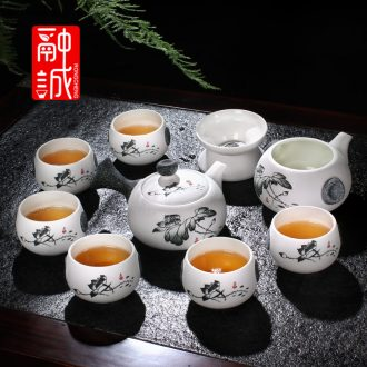 Melts if snow glaze ceramic kung fu tea tea set suit suits the whole set of tea cups gift porcelain teapot