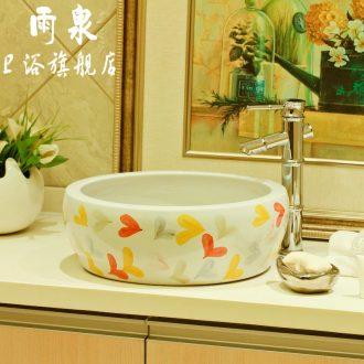 Spring rain drum-shaped stage basin round basin hotel ceramic lavabo art basin bathroom sinks package mail