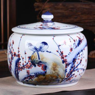 Jingdezhen ceramic bread seven pu 'er tea pot large tea POTS sealed cans of tea cake tin box