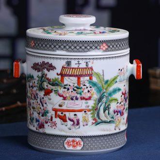 Jingdezhen ceramic hand-painted the ancient philosophers figure sealed POTS produces a large tea packaging household porcelain pot